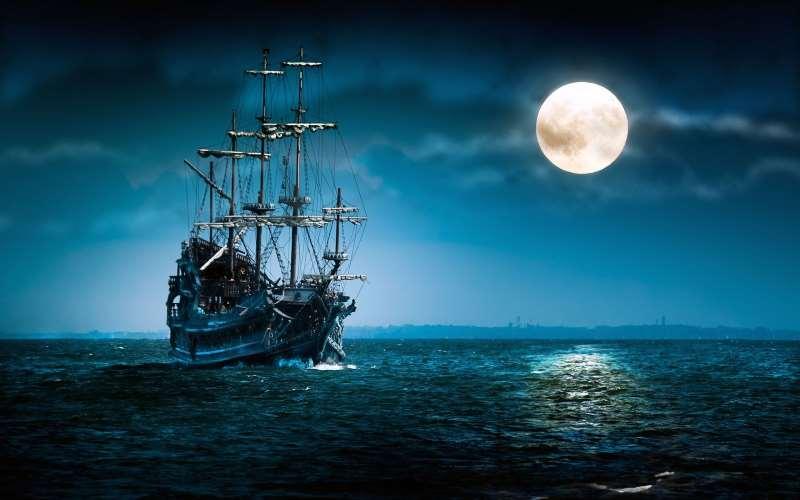 πλοιο καραβι φεγγαρι θαλασσα τοπιο