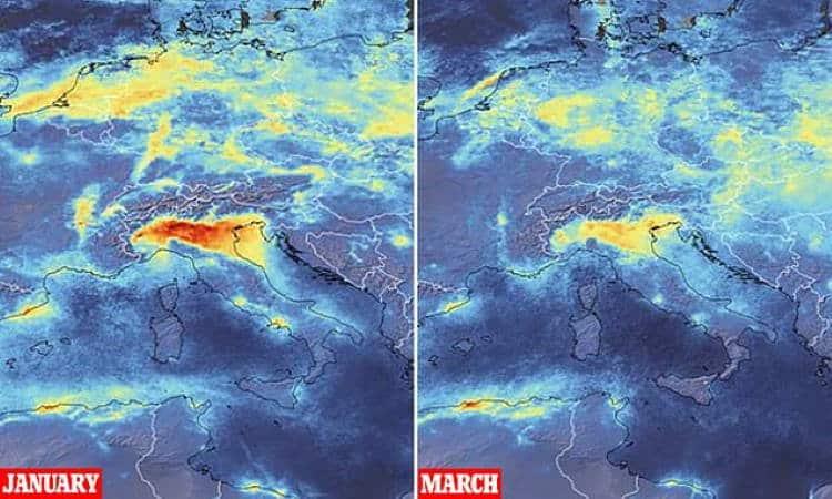 Δορυφορικές εικόνες αποκαλύπτουν μεγάλη μείωση της μόλυνσης κατά την καραντίνα του κορονοϊού