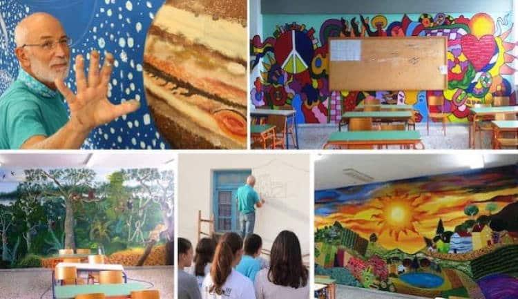 Καβάλα: Ο Γιάννης Κανίογλου ζωγραφίζει τους τοίχους των σχολείων αφιλοκερδώς εδώ και 13 χρόνια